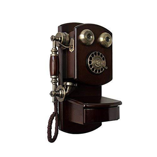 WBDZ Teléfono de Estilo Retro/Pared de Madera Dial de teléfono Retro Composición Retro Teléfono inalámbrico Teléfono Fijo Teléfono Fijo Teléfono Retro, Sala de Estar, Oficina (Color: B)