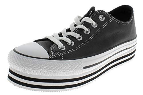 CTAS Platform Layer OX Zapatos Deportivos para MUIER Negro 565828C