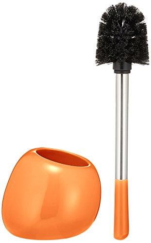 WENKO WC-Garnitur Polaris, hochwertiger Toilettenbürstenhalter aus edler Keramik, inklusive Toilettenbürste, 15 x 34,5 x 14,5 cm, Orange