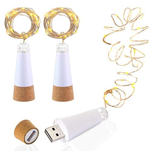 LED Flaschenkorken Beleuchtung, USB betrieben Wiederaufladbar, 1.9 m Kupferkabel mit 20 LED Sternenhimmel Lichterketten, zum DIY Dekor Draussen Versammlung Party Hochzeit Urlaub (3 Stück, Warmweiß)
