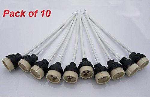 GU10 Fassungen Brandschutz, JRing GU10 Fassung (220V-250V) für LED und Halogen aus Keramik mit Kunststoff-Schutzkappe (10Pcs)