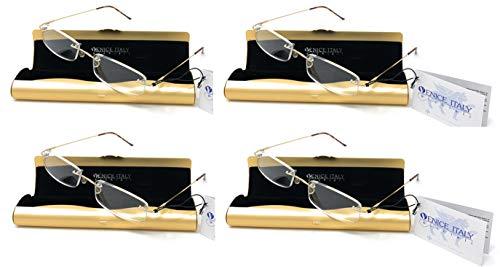 PACK DE 4 UNIDADES de Gafas de lectura UNISEX, presbicia, vista cansada, Diseño elegante LIGERAS estuche de aluminio GRATIS - Venice PENBOX Dioptría (1-2 - 2,50-3 - 3,50) (Dorado, 2,50)