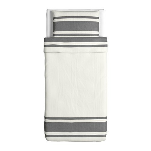 IKEA Bjornloka Duvet Cover and Pillowcase, Black White, Black, Twin