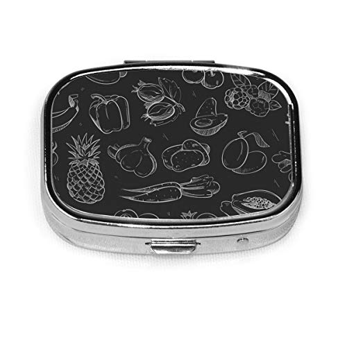 Pill Box - Customized White Doodle Vegetables Fruits Isolated On Fruit Food and Drink Pill Boxes, Portable Rectangular Metal Silver Pills Case, Compact 2 Space, Pill Cases for Travel/Pocket/Purse