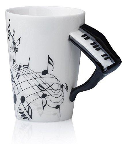Kompassswc Keramiktasse mit Motiv Henkel Lustig Musik Kaffeetasse Porzellan Tee Kaffee Tasse Musiknoten Bedruckt Teebecher Geschenk 0,3L (Klavier)