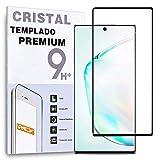 REY Protector de Pantalla Curvo para Samsung Galaxy Note 10+ / NOTE10+ / NOTE10 Plus/Note 10 Plus, Negro, Cristal Vidrio Templado Premium, 3D / 4D / 5D
