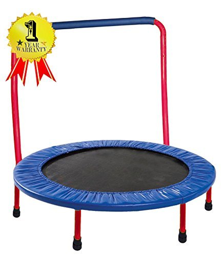 GYMENIST Kids Trampoline Portable & Foldable - 36 Inch. Durable Construction with Padded Frame Cover and Handle Bar - Red Blue (Red - Blue)