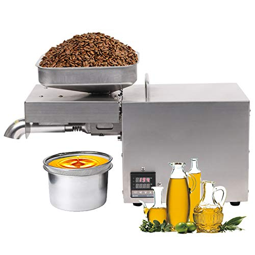 Automatic Nut Seeds Olive Oil expeller Kitchen Oil Press Machine Electric Automatic Oil Press Extractor for Avocado Coconut Flax Peanut Castor Hemp Perilla Seed Canola Sesame Commercial Grade 2000W