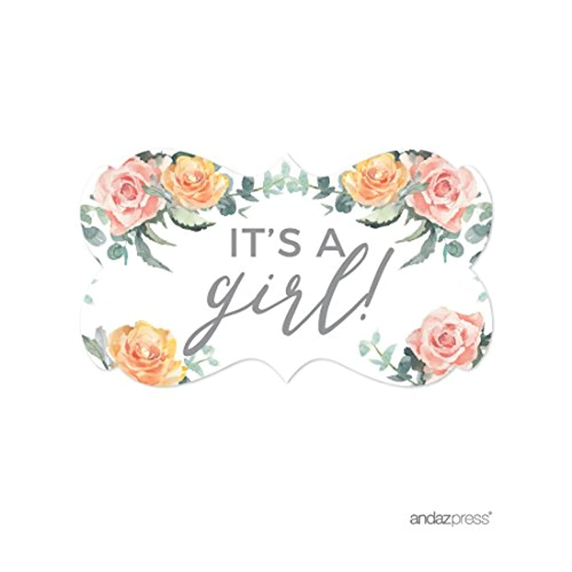 Andaz Press Peach Coral Floral Garden Party Baby Shower Collection, Fancy Frame Label Stickers, It's a Girl!, 36-Pack