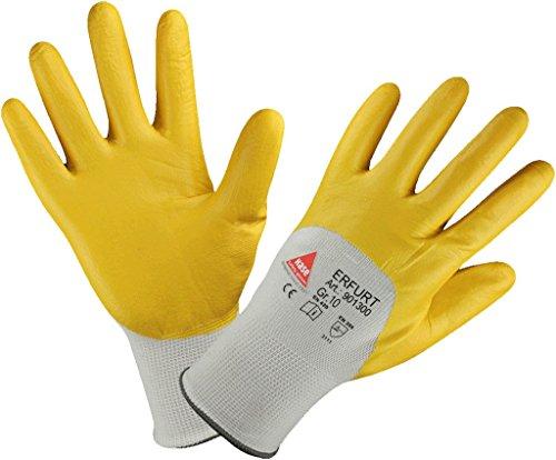 1–12 par – ERFURT – säkerhetshandskar nitril gul, delvis arbetshandskar trädgårdshandskar – storlekar 7 till 12, gul, storlek 11 (XXL) x 1 par