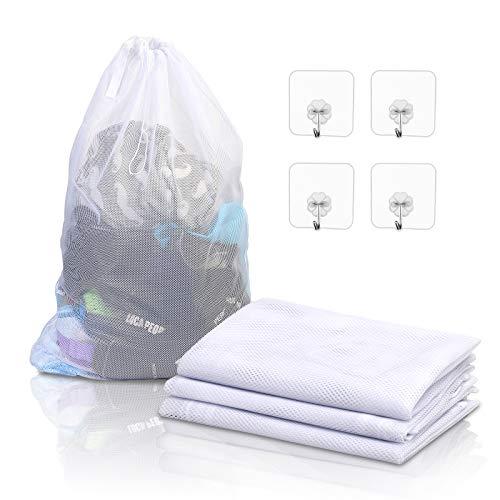 KATOOM 4er Groß Wäschenetz Waschmaschine Wäschesack Grobmaschig Wäschebeutel ohne Reißverschluss XL 60 x 90 mit 4 Klebrigen Haken Kordel für Gardinen Bettwäsche Baby Kleidung