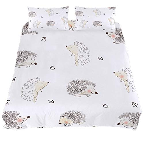 ASIGA Cute Hedgehog King Duvet Cover Set 3 Pieces Printed Comforter Cover with Zipper Closure Bedding Set for Women Men,Bedroom Bed Linen