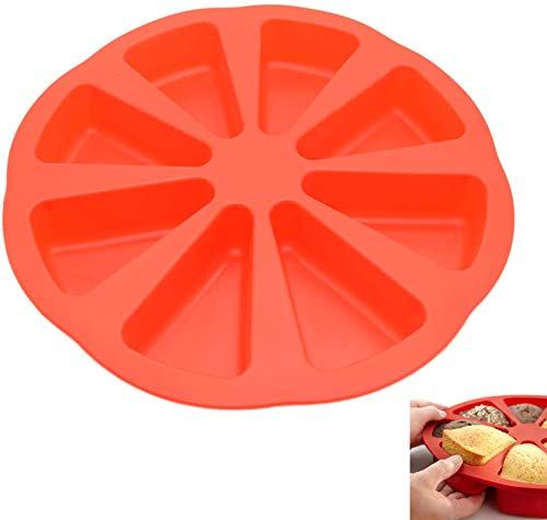 LANYY 8 Cavity Silicone Portion Cake Mold Triangle Cavity Cake Pan Soap Mould Pizza Slices Scone Baking Molds DIY Kitchen Baking Tool for Thanksgiving Day Christmas Party