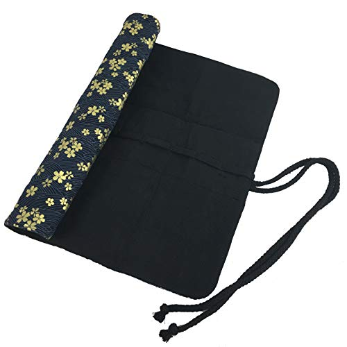 15 Inches Paint Brush Holder Roll Up Artist Case Pen Holder 20 Pockets Canvas Pouch Bag (Gilded Sakura)