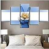 Xuetaozz Arte de pared Modular Argentina Bandera Imágenes Lienzo Impreso 5 piezas Decoración para el hogar Ganar carteles de gestos Pinturas para la sala de estar - 30x40 30x60 30x80cm Sin marco