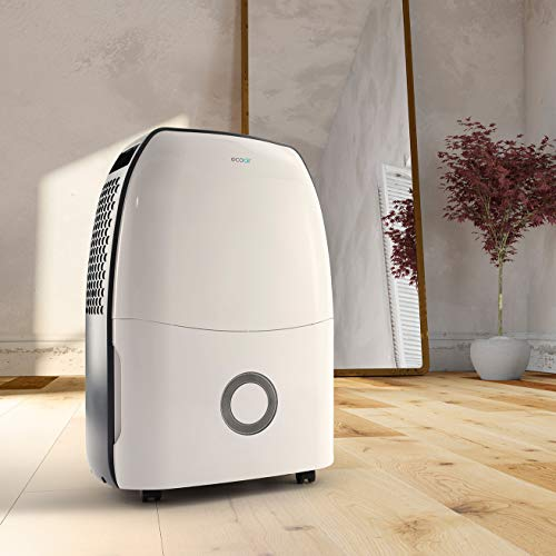 EcoAir DC12 Compact Portable Dehumidifier, 12 L - Clean Filter Indicator, 2H/4H Timer, Auto Shut Off, Castor Wheels, Auto Defrost, Rapid control of humidity & indoor laundry drying