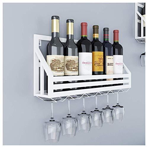 HXCD Estante para Vino, Bar, Restaurante, Estante para Copas de Vino, para Colgar en la Pared, Botella de Vino de Metal y amp;Soporte de Vidrio, Capacidad para 6 Botellas, Vasos, Blanco