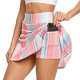 WOWENY Mujer Deportivo Corto Falda Plisada A-Line Mini Skorts de Tenis Golf con Bolsillos Interiores para Shorts,Vestido de Playa para Mujer (Z-arcoíris, M)