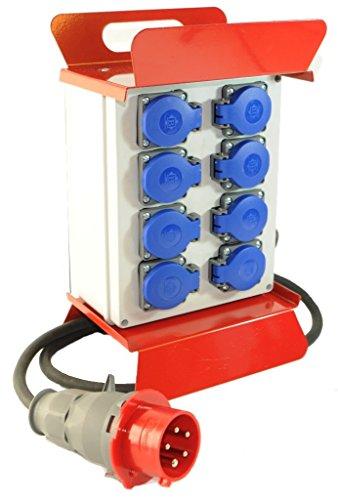 Mobiler Baustromverteiler/Standverteiler 8 x 230V/16A Schuko komplett verdrahtet 1,5m Zuleitung