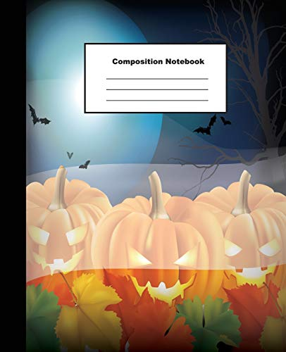 Composition Notebok: Halloween Background with Jack O Lantern Version 2 Wide Ruled Paper Note