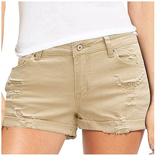 Pantalones Cortos Mujer Básicos Gimnasio Pantalones Cortos Mujer Verano Vaqueros Cintura Alta Short Yoga Pantalones Calientes High Waist Tejanos