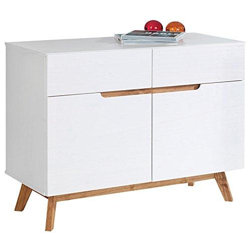 IDIMEX Buffet Tibor Style scandinave Design Vintage Nordique Commode bahut vaisselier avec 2 tiroirs et 2 Portes battantes, en pin Massif lasuré Blanc