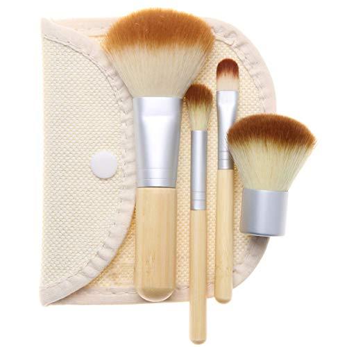 Facile à utiliser Qualité professionnelle cosmétiques 4 Pcs pinceaux de maquillage poignée en bambou pinceau de maquillage en bambou lin Sac Brosse de maquillage
