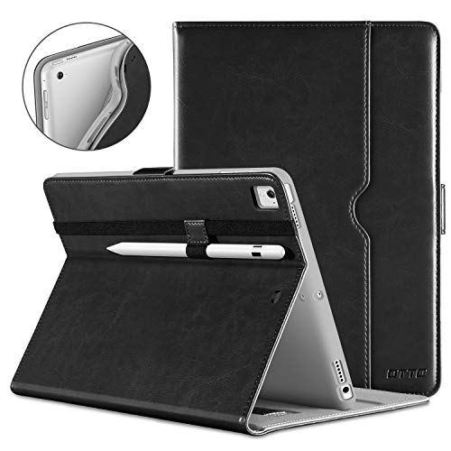 DTTO New iPad 9.7 Inch 5th/6th Generation 2018/2017 Case with Apple Pencil Holder, Premium Leather Folio Stand Cover Case for Apple iPad 9.7 inch, Also Fit iPad Pro 9.7/Air 2/Air - Black(Grey Lining)
