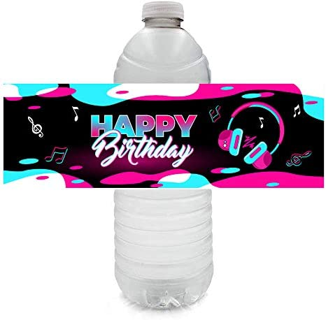 TIK Tok Party Supplies Music Theme Birthday Party Decorations Tic TOC Bottle Arround Wraps Waterproof product image
