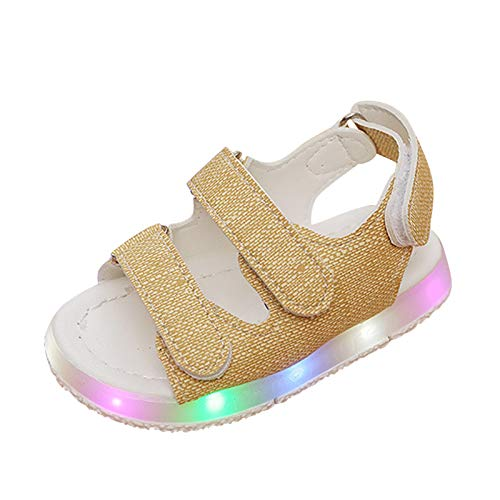YWLINK Sandalias De Playa Infantil con Luz LED para NiñOs Y NiñAs,NiñAs Verano Zapatos De Playa Bebé LED Flash Luminosas Casual Fiesta Respirable Antideslizante Chanclas Zapatillas