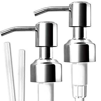 JASAI Durable 304 Rust Proof Stainless Steel Soap Pump Kitchen Soap Dispenser Pump Replacement for Regular Mouth Bottle 2 Pack