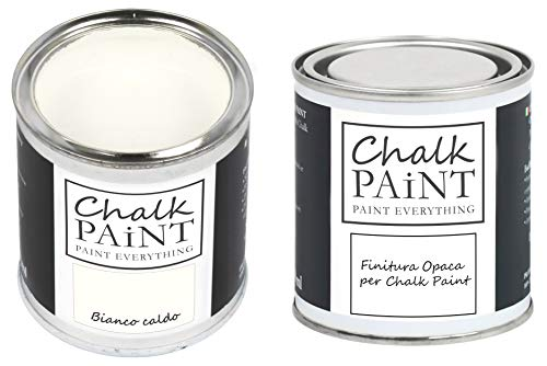 CHALK PAINT & FINITURA - Bianco Caldo + Finitura Trasparente - Kit Pronto Vernicia e Proteggi (250ml+250ml)