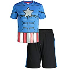 Performance tee and shorts set featuring Marvel Comics superhero Captain America Awesome heroic graphic muscles Breathable mesh shorts with contrast tapings and an elastic waist for a better fit Perfect for sports or outdoor play Machine wash cold; o...