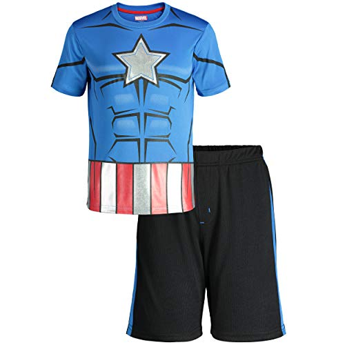Marvel Avengers Captain America Little Boys' Athletic T-Shirt & Mesh Shorts Set, Blue (12)