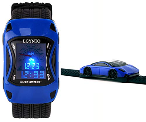 LGYNTO Kids Watches Boys Waterproof Sports Digital LED Wristwatches 7 Colors Flashing Car Shape Wrist Watches for Children,for Age 3-10 (Blue)