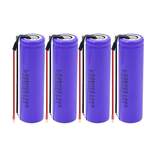 ahjs457 4 Uds 18650 M26 batería 2600MAH Gran Capacidad Plana Superior Recargable Linterna antorcha Juguetes reemplazo Celular + Cable de Gel de sílice DIY