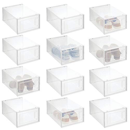 mDesign Stackable Plastic Closet Storage Box with Side Opening Panel- for Organizing Mens and Womens Shoes Booties Pumps Sandals Wedges Flats Heels and Accessories 12 Pack - WhiteClear