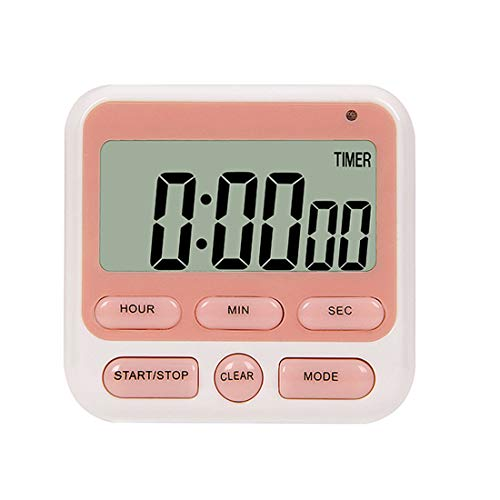 Kitchen Timer, Magnetic Digital Kitchen Countdown Stopwatch Timer with Loud Alarm, Back Stand for Cooking, Classroom, Bathroom, Teachers, Kids (Battery Not Included) (Pink)