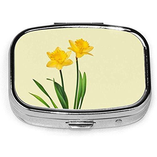 Pill BoxYellow Spring Daffodils Daffodil Template Pill Boxen, Rechthoekige Metalen Pills Case, Compact 2 Space, Pill Cases