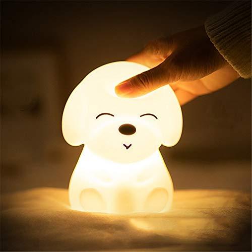 MMPY Pat Silicona Perro Creativo luz de la Noche Cambio de Color de sueño lámpara de Tabla Ligera Noche