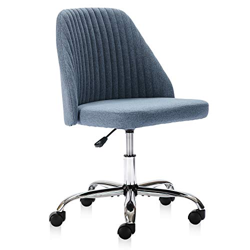 Home Office Chair, Modern Twill Fabric Chair Adjustable Desk Chair Mid-Back Task Chair Ergonomic Executive Chair-Blue