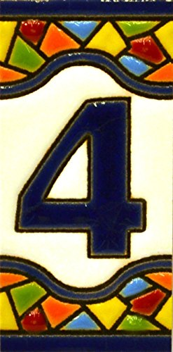 Números casa. Letreros con numeros y letras en azulejo de ceramica policromada, pintados a mano en técnica cuerda seca para placas con nombres, direcciones y señaléctica. Texto personalizable. Diseño MOSAICO MINI 7,3 cm x 3,5 cm. (NUMERO CUATRO 4)