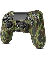 TNP PS4/Smal/Pro Controller Skin Grip Cover Case Set - Skyddande Mjuk Silikon Gel Gummi Skal & Halkskydd Tumme Stick Kepsar för Sony PlayStation 4 Controller Gaming epad (Camo Grön)