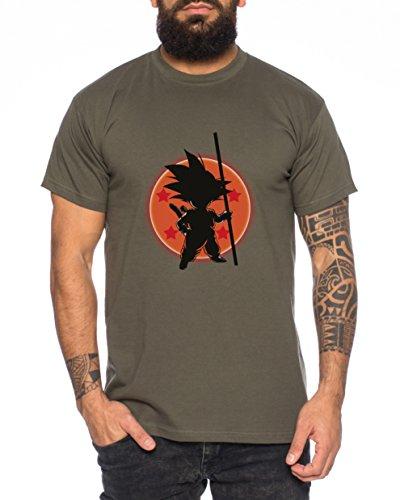 WhyKiki Son Ball Dragon Goku Camiseta de Hombre, Colour:Khaki;Größe2:XL