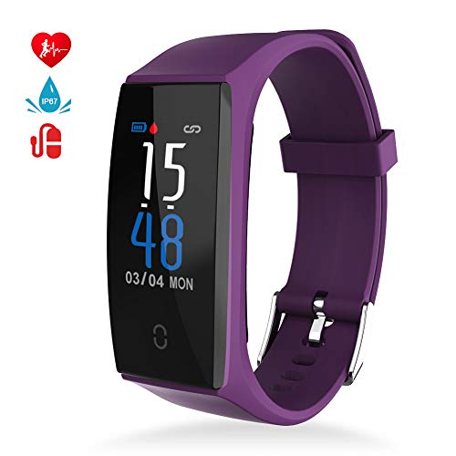 MINLUK Fitness Tracker, Orologio Fitness Uomo Donna Braccialetto Fitness Impermeabile IP67, Cardiofrequenzimetro da Polso Contapassi Calorie Notifiche, SmartWatch per Android iOS
