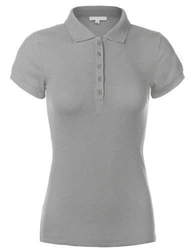 Luna Flower Women's Short Sleeve Cotton Slim Fit Polo Shirt Heather_Grey 2X (GTEW091)