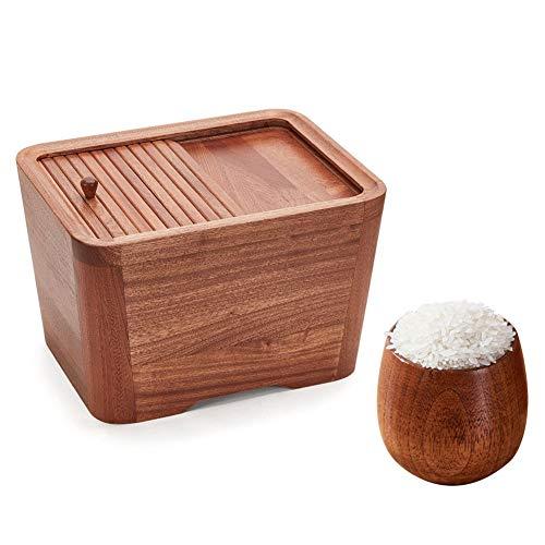 Aprilhp Mehlbehälter Getreidespender Müslidosen Vorratsdosen mit Deckel, 10kg, Holz Vorratsbehälter für Reis und Getreide, Ideal für Haus und Küche, Rot/Weiss