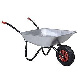 Schubkarre Bauschubkarre Baukarre Gartenkarre Karre Transportkarre verzinkt (Silber)