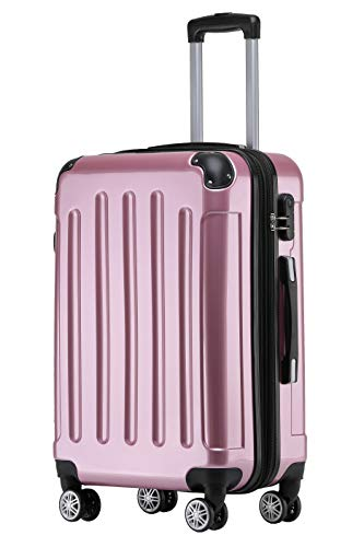 BEIBYE Zwillingsrollen 2048 Hartschale Trolley Koffer Reisekoffer Taschen Gepäck in M-L-XL-Set (Rosa, L)