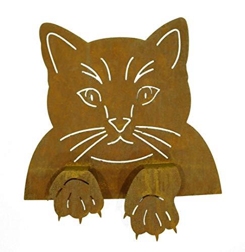 Rostikal | Edelrost Katze Rost Katzenkopf zum Einhängen in Zäune Garten-Deko